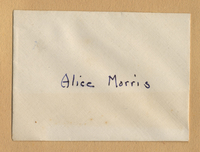 A note, maybe an envelope with Alice Morris' name on it