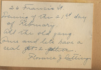 Party invitation from Florence J. Cutting