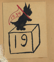 Drawing of the Scottie dog holding a 1934 flag
