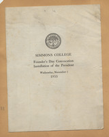 Simmons College Founder's Day Convocation Installation of the President 1933 program