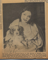 Newspaper clipping photograph of Katherine Cornell and Flush
