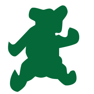 A green icon image of a bear