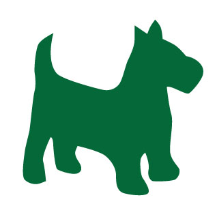 An icon image of a green scottish terrier.
