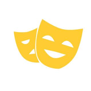 A yellow icon of tragic-comic masks.
