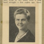 Clipping with portrait of short-haired female wearing necklace at center, headline in bold, with text above and below image.