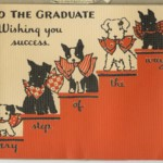Card with Scottie dogs on stairs