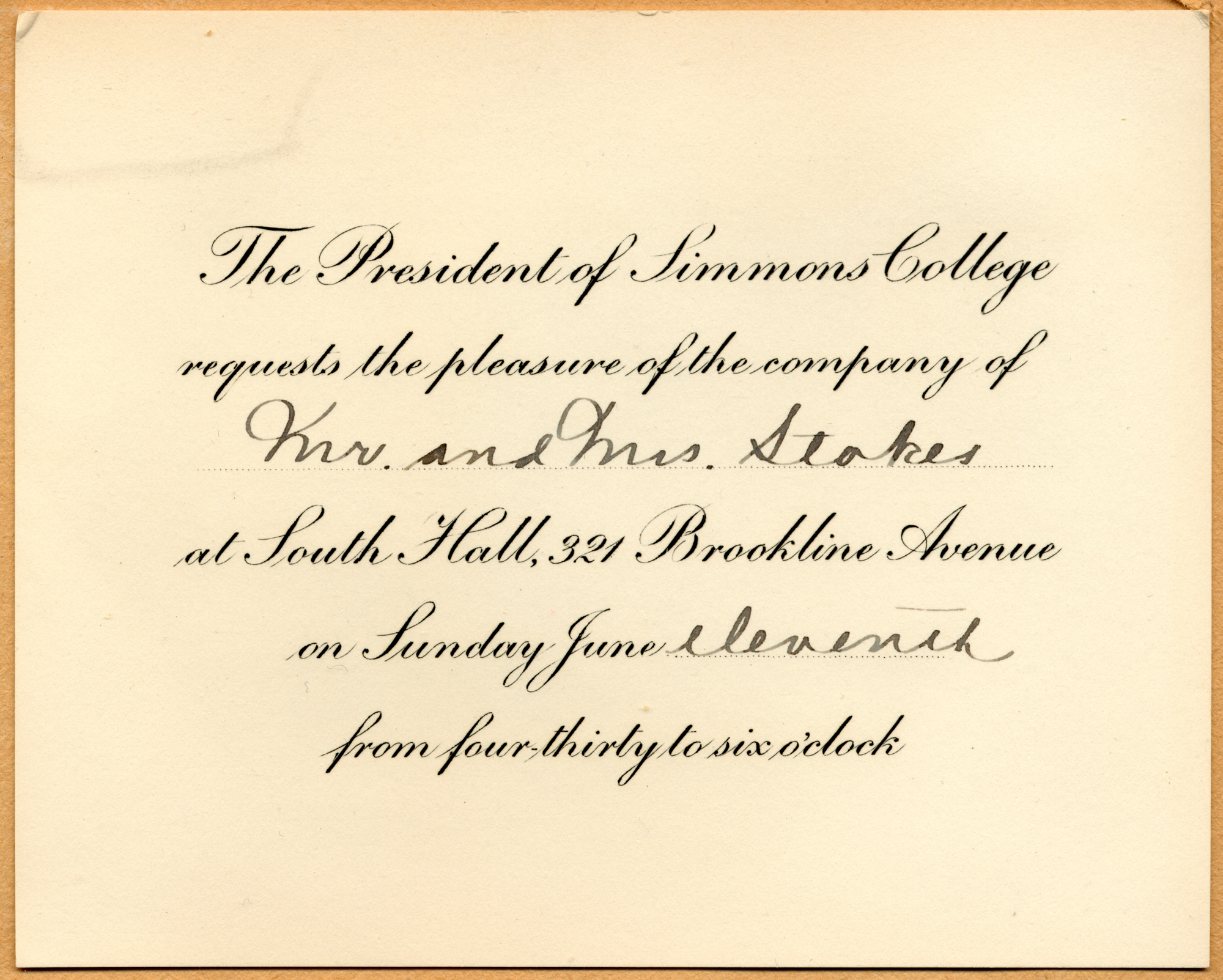 Caroline Invitation to commencement for Mr and Mrs Stokes