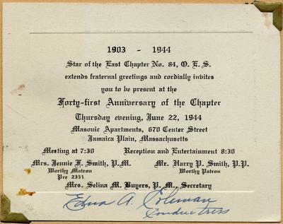 Catherine Hering Jensen Invitation Masonic anniversary