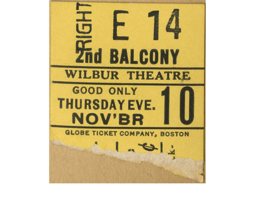 "Ticket stub for the play ""Shadow and Substance"""