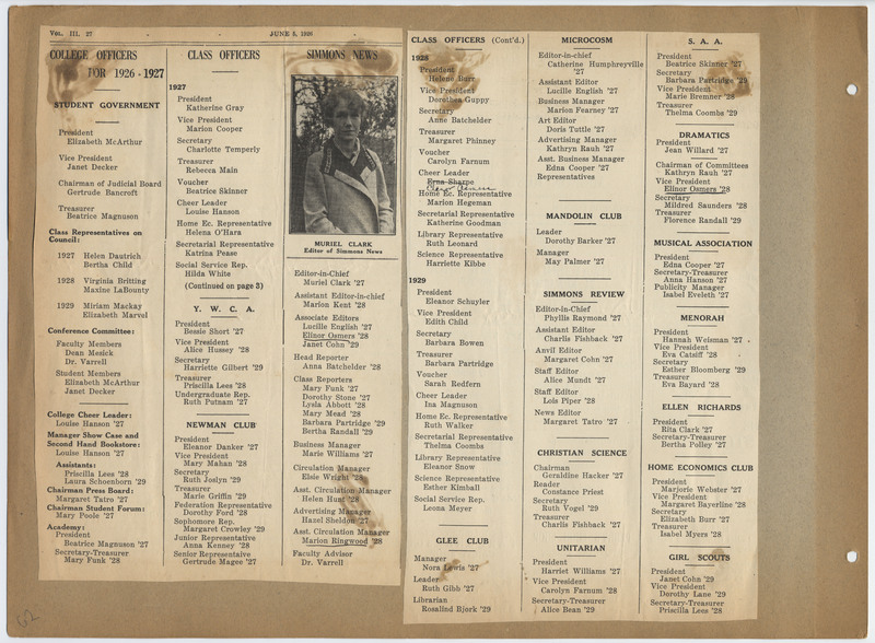 Newspaper clipping listing class officers for 1926-1927