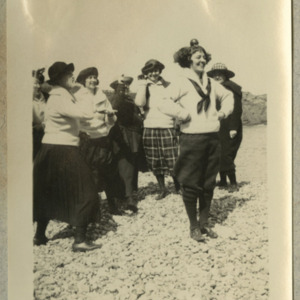 "Photograph of seven women on the beach. Caption: ""Nantasket - '23"""