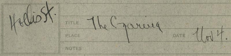 "Transcription: ""Hollis St. | Title The Czarina / Date Nov 4"""