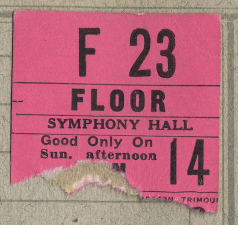 Ticket stub for floor seat F23 at Boston's symphony. Sunday afternoon performance, likely January 14, 1923.