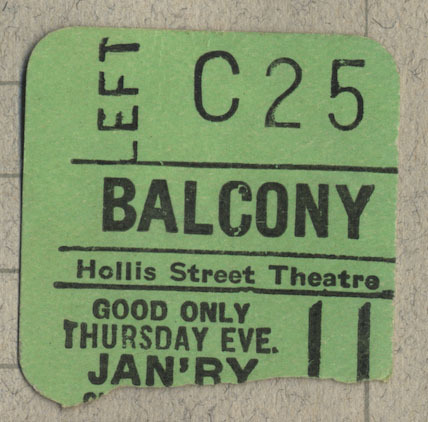 Ticket stub for Balcony Left seat C25 at the Hollis Street Theatre.