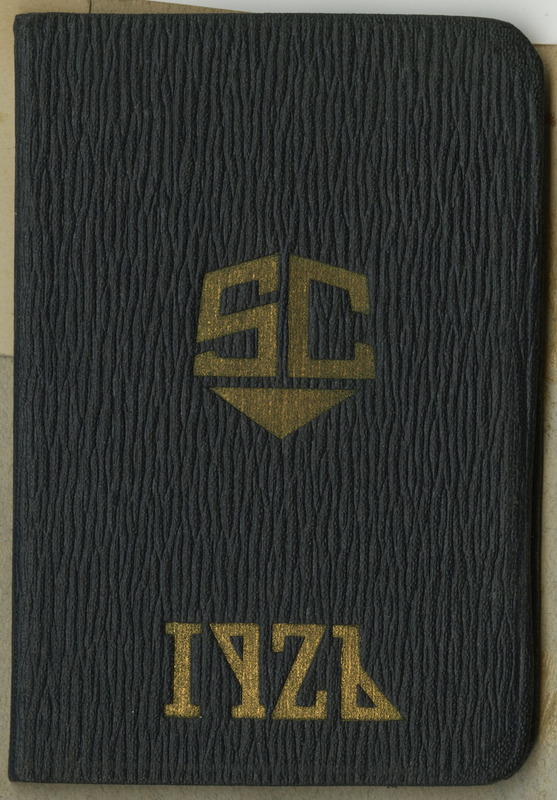 "Top center of first page, hand written ""R.D.G"" initials indicating this handbook belonged to Ruth D. Gates. This book was created and distributed by the Simmons College Student Government association in preparation for welcoming the class of 1926. 41 pages."