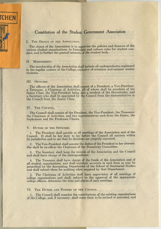 "Document, ""Constitution of the Student Government Association."" Unfolded Extent: 9 by 25 cm. 3 pages."