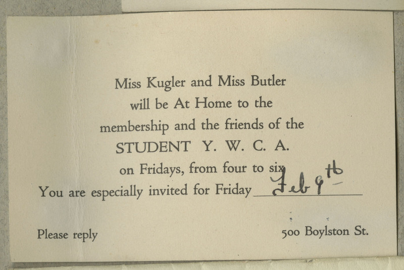 This is an invitation for a recital performance at the Student Y.W.C.A. for a Miss Kugler and Miss Butler.