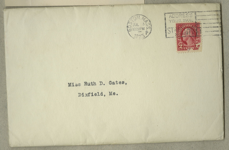 """An envelope holding Ruth D. Gates' certificate for """"The One-Year Programme in the Teaching of Domestic Art"""". Boston, MA is the origin from which the envelope was sent."""