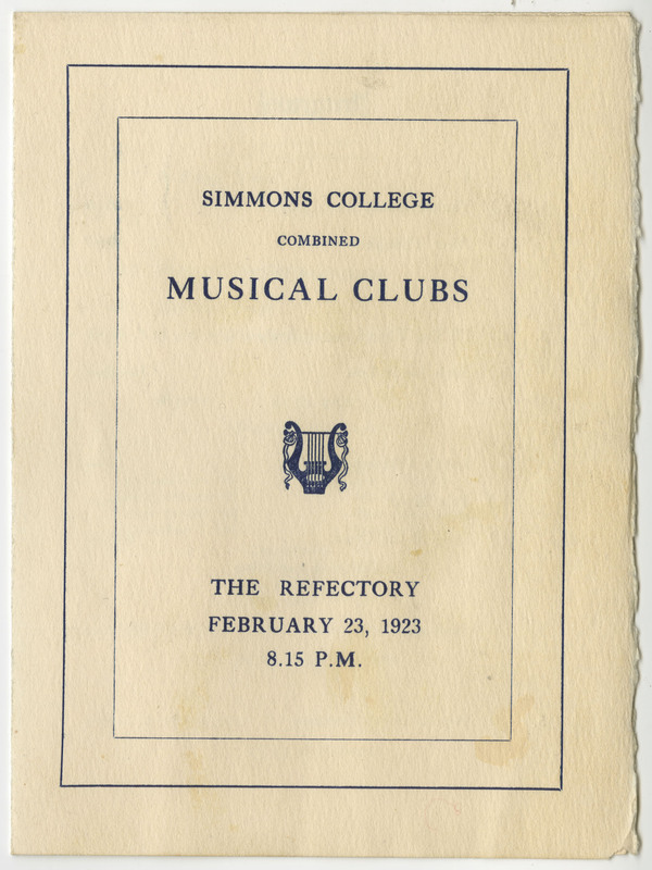 Associations included in this program are the Simmons Musical Association, Glee Club, and Mandolin Club.