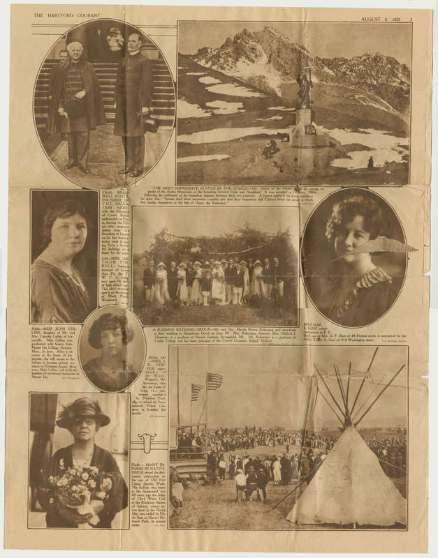 A newspaper page containing various portraits and photographs of people and happenings around the world.