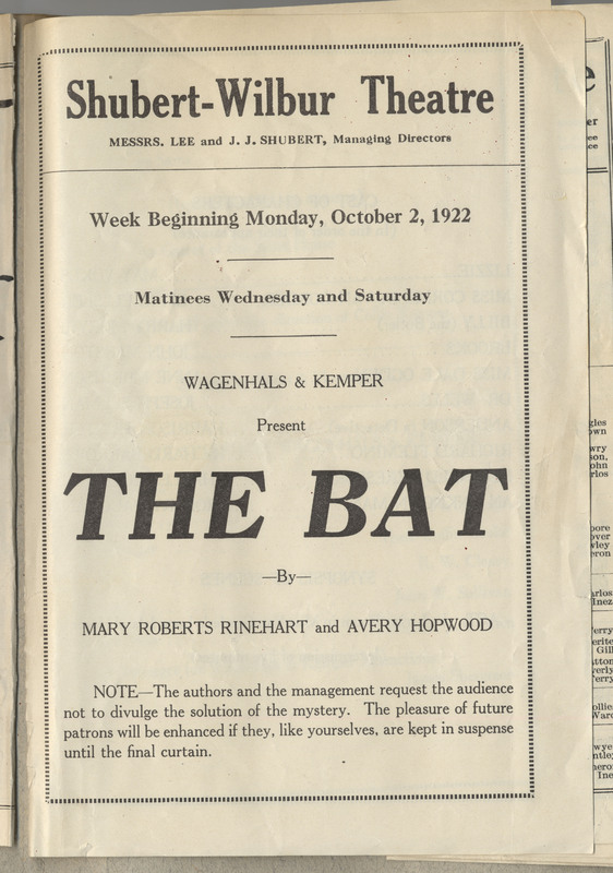 "Theatre program for ""The Bat."" 4 pages"
