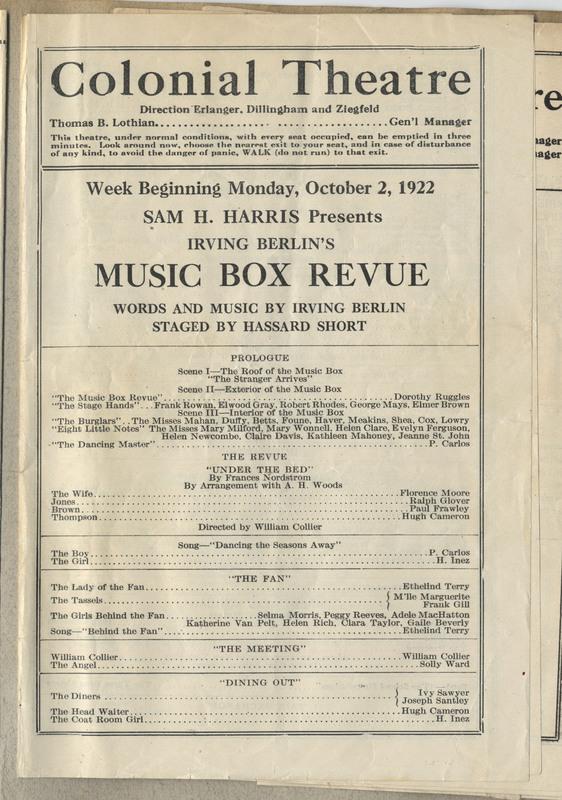 Theatre program. 4 pages