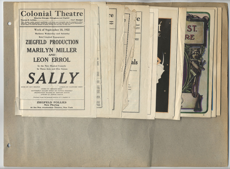 Page 21 of scrapbook. Contains theatre programs