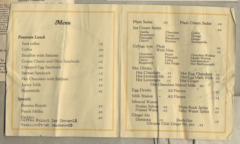 4 pages, plus insert (1 page, 9 x 8 cm). A menu for Soda Fountain Lunches, with insert of lunch specials.