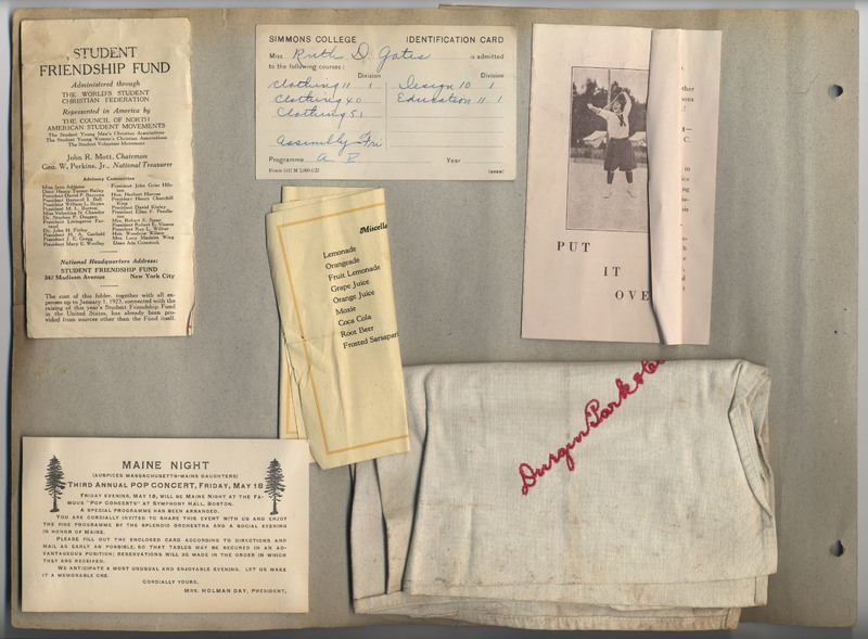 Page 22 of scrapbook. Contains programs, invitations, an identification card, and a handkerchief