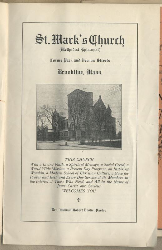 A church bulletin for St. Mark's Church