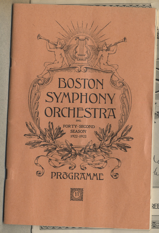 "Program for ""Boston Symphony Orchestra Forty-Second Season 1922-1923"""