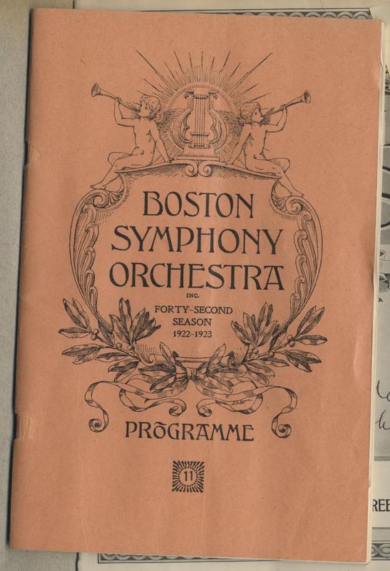 "Program for ""Boston Symphony Orchestra Forty-Second Season 1922-1923"""