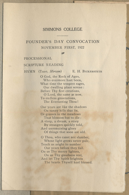 "This is a program for the ""Founder's Day Convocation: November First, 1922"". It has the procession of the event as well as the list of speakers and those students who were candidates for degrees. Ruth was not listed as one of the students."