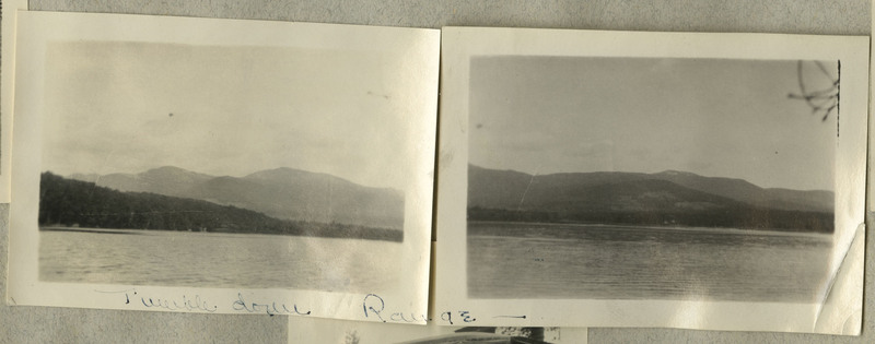 """A panorama, consisting of two adjacent photographs, of a lake with mountains in the background. Caption: """"Tumble down Range"""""""