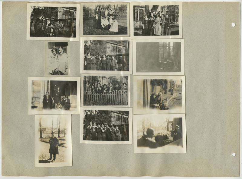 Page 28 of scrapbook. Contains 12 photographs depicting people