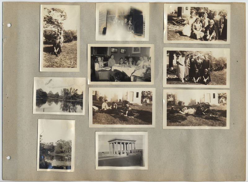 Page 29 of scrapbook. Contains 10 photographs depicting people and landscapes
