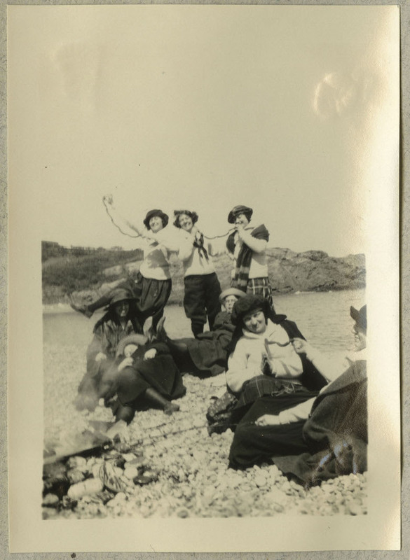 "Possibly Ruth Gates second from right in the foreground. Caption: ""Nantasket - '23"""