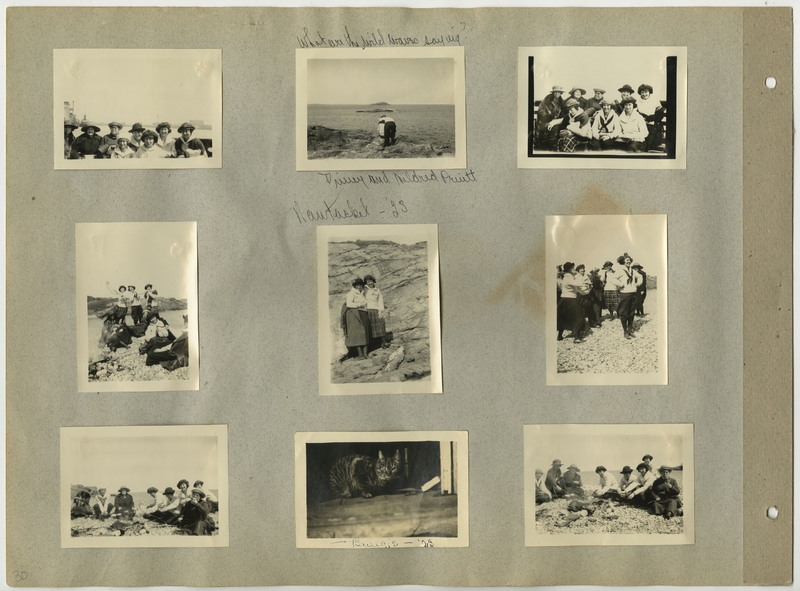 Page 30 of scrapbook. Contains 9 photographs and script