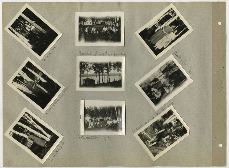 Page 32 of scrapbook. Contains 9 photographs and script
