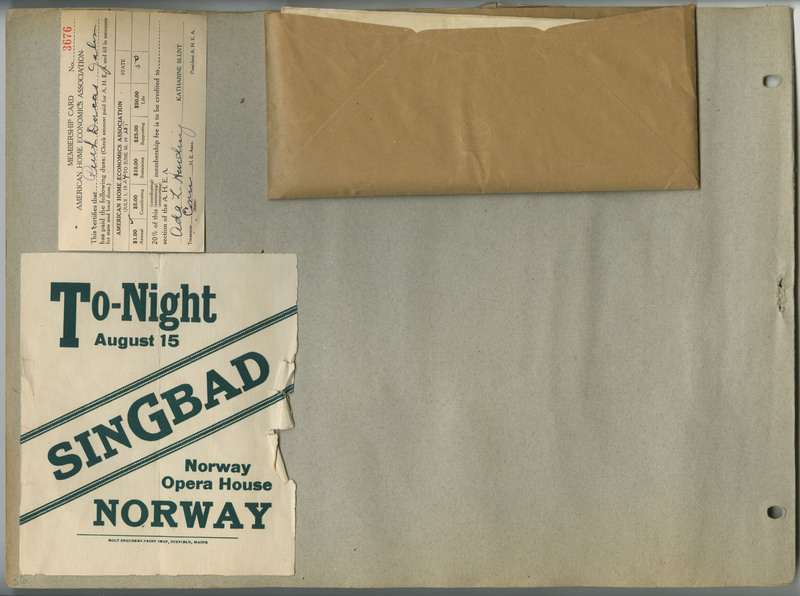 Page 36 of scrapbook. Contains a membership card, theatre advertisement, and an envelope