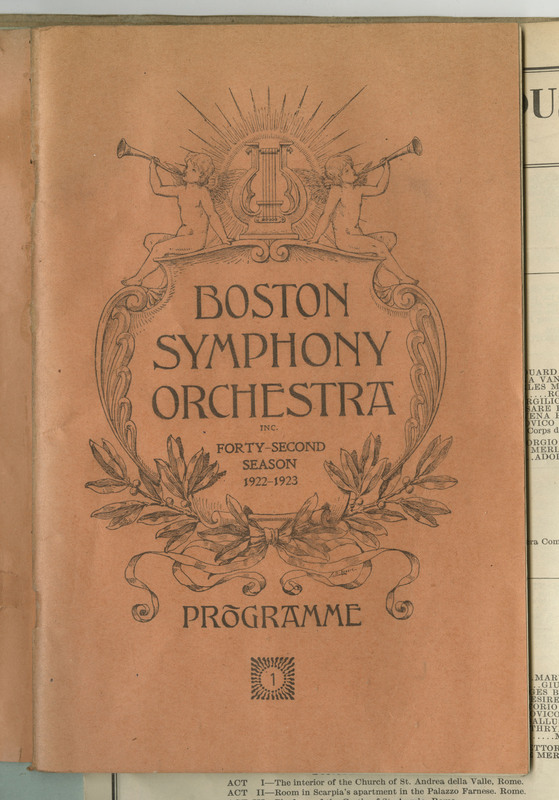 This is the 1st programme of the Boston Symphony Orchestra's (BSO) 1922-1923 season. This pamphlet consists of 68 pages containing information about the Boston Symphony Orchestra and advertisements.
