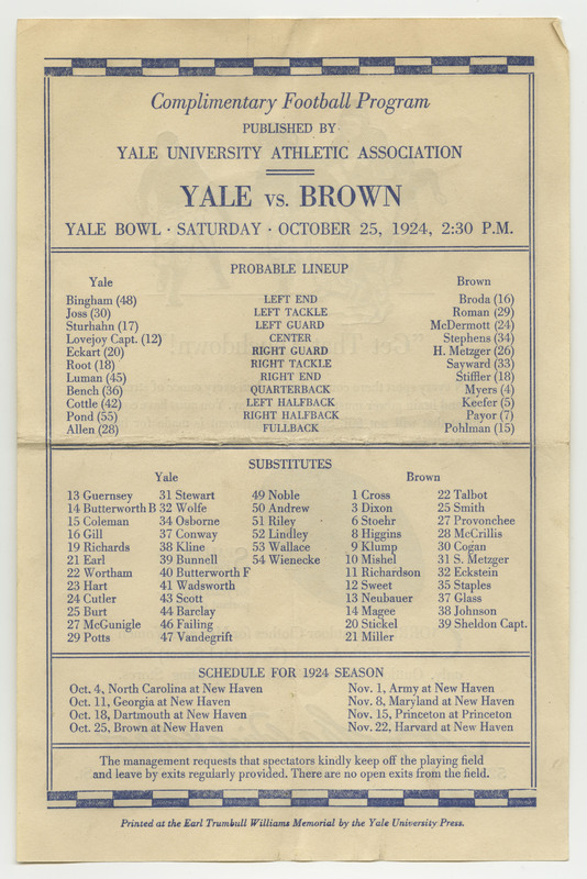 This football program has the team players names and numbers for Brown University and Yale University as well as the schedule for 1924.  The reverse is an advertisement for A.G. Spalding & Bros. Outdoor Clothing Store on Fifth Avenue, New York, NY.