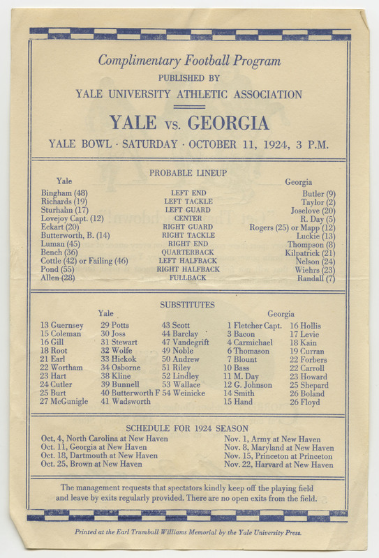 This program contains names and numbers of the football players for the Yale University and Georgia teams as well as the schedule for the 1924 season.