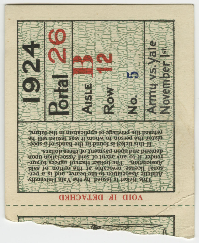 Ticket for Portal 26, Section B, Row 12, No. 5.