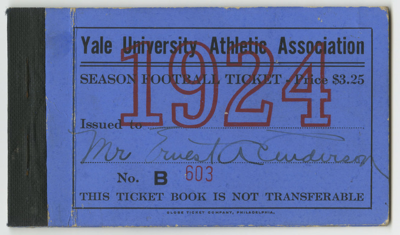 Season ticket to Yale University Football purchased by Mr. Ernest Anderson.