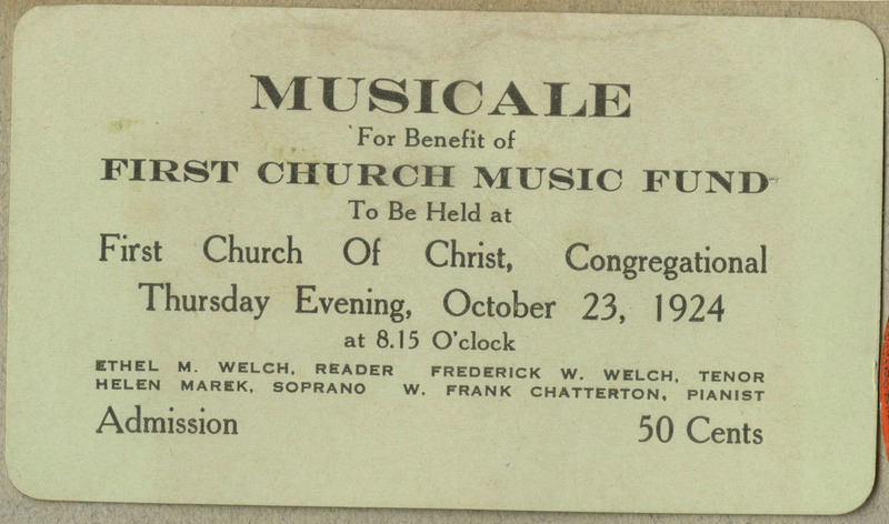 Ticket for charity concert event held at First Church of Christ, Congregational.