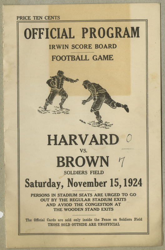 Program for Harvard versus Brown football game at Soldiers Field. 2 pages / Scores written on title page.