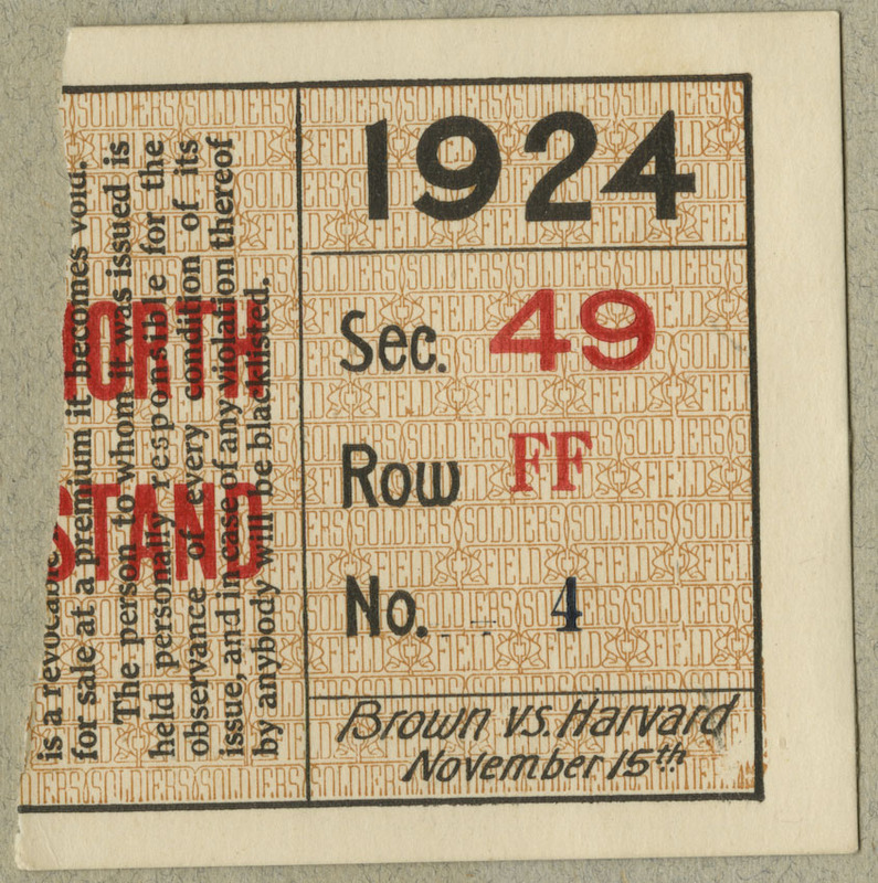 Ripped ticket stub for Brown versus Harvard football game at Soldiers Field. Contains seating information.