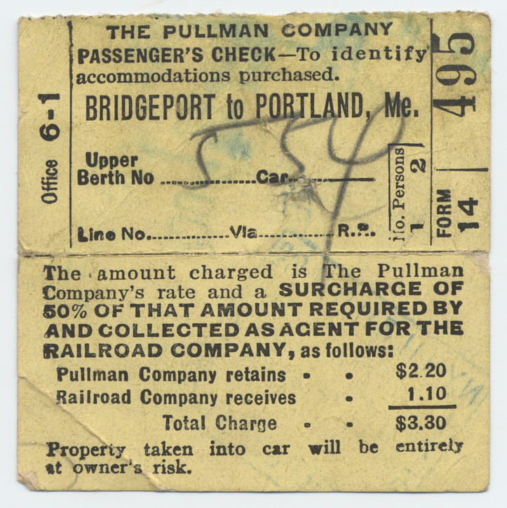 Rail ticket from Bridgeport to Portland.