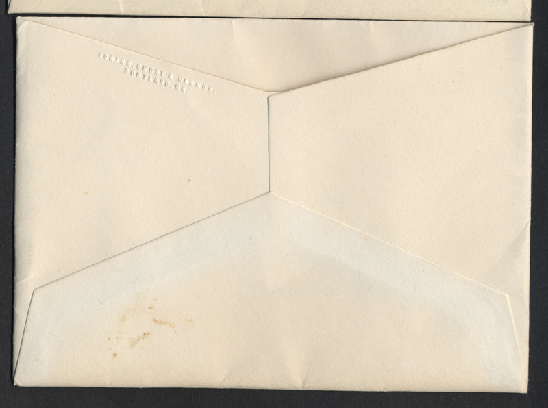 "Card with printed black text, within an envelope which is affixed to a page of the scrapbook. Dimensions: 8 by 11 cm. The printed text reads ""At Home / after October the tenth / 8 Blackstone Boulevard / Providence, Rhode Island"""